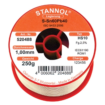 Picture of Soldeertin Stannol 1.0 mm  rol van  250 gram